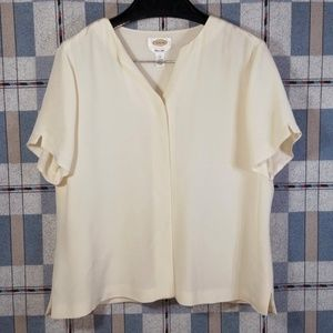 Pure Silk Hidden Button Blouse Top S/S Cream Vneck
